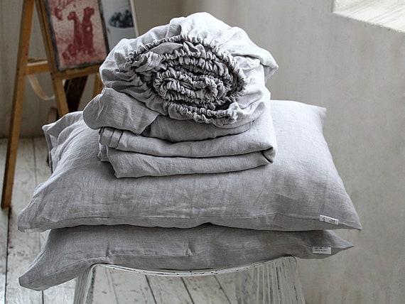 Linen sheet set / Softened linen bedding / Flat sheet / Fitted sheet / 2 pillow cases / Ash pearl melange linen set / Child's  linen bedding