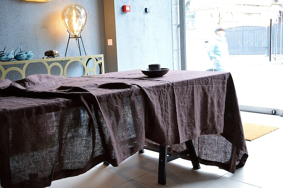 Chocolate Linen tablecloth / Table linen / Dark linen tablecloth /  Softened tablecloth with mitered corners / Stonewashed linen tablecloth