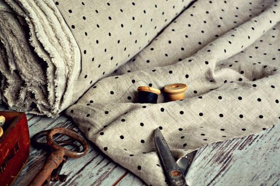 Polka dot linen \ Linen fabric A-014 natural / Softened linen fabric / European linen fabric / Stonewashed linen fabric / Linen