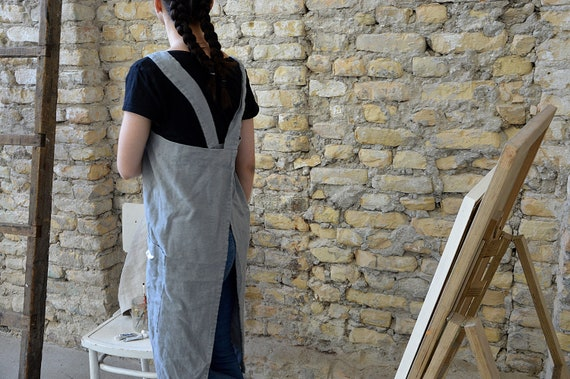 READY to ship - Thick linen pinafore apron - Square cross linen apron - Heavy weight rustic linen apron - Stonewashed linen cafe apron