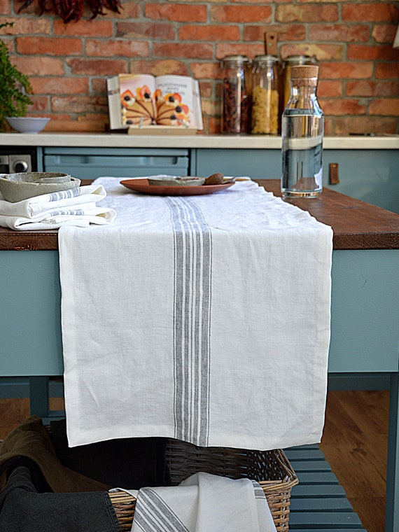 Linen table runner / Heavy weight runner / Snow white with strip / Table runner with mitered corners / Rustic linen table runner