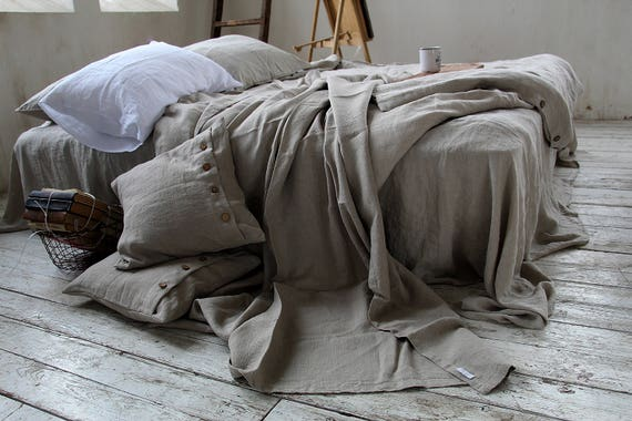 Linen throw set / Throw blanket with fringe / without fringe / Heavy weight  linen / Thick linen coverlet and pillowcases / Linen throw