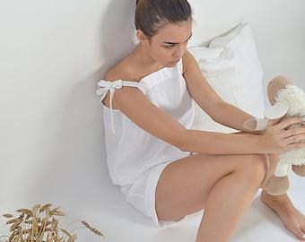 Linen pajama - Women's linen sleepwear - Soft linen loungewear - Sizes XS-2XL - Handmade linen pyjama set -  Pajama top and shorts