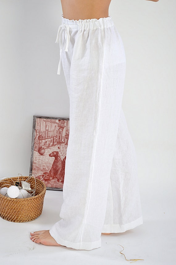 READY to ship / Linen pants / Women's Linen pants / Sizes L / Soft linen trousers / Linen pajama Pants / White linen pants