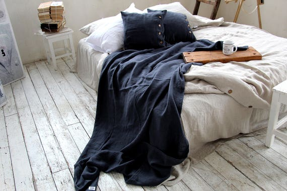 Linen throw set / Throw blanket / Heavy weight linen / Throw / Thick linen coverlet and pillowcases