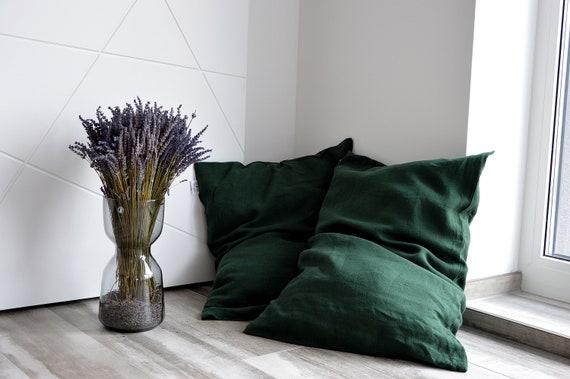 Emerald linen pillowcase / Stonewashed bed pillowcases / Envelope closure pillow covers / Simple linen pillowcase / Soft linen bedding