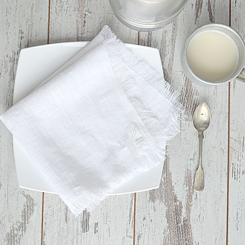 Thick Linen Napkins Natural Linen Napkin Set Size 20 X 20 White Napkins With Fringed Edges Rustic Table Linen
