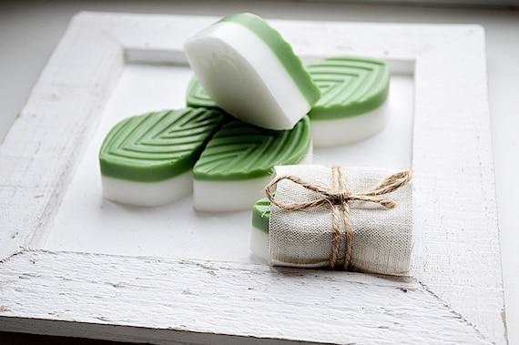 Gift soap set / Soap with wheatgerm oil / Guest handmade soap set / Natural goat milk soap / Fresh soap ''leaf''