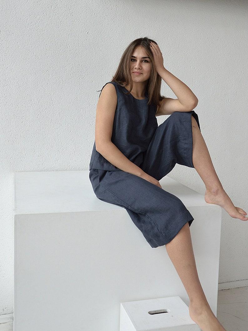 Linen culottes pants / Terracotta linen pants / Woman's image 0