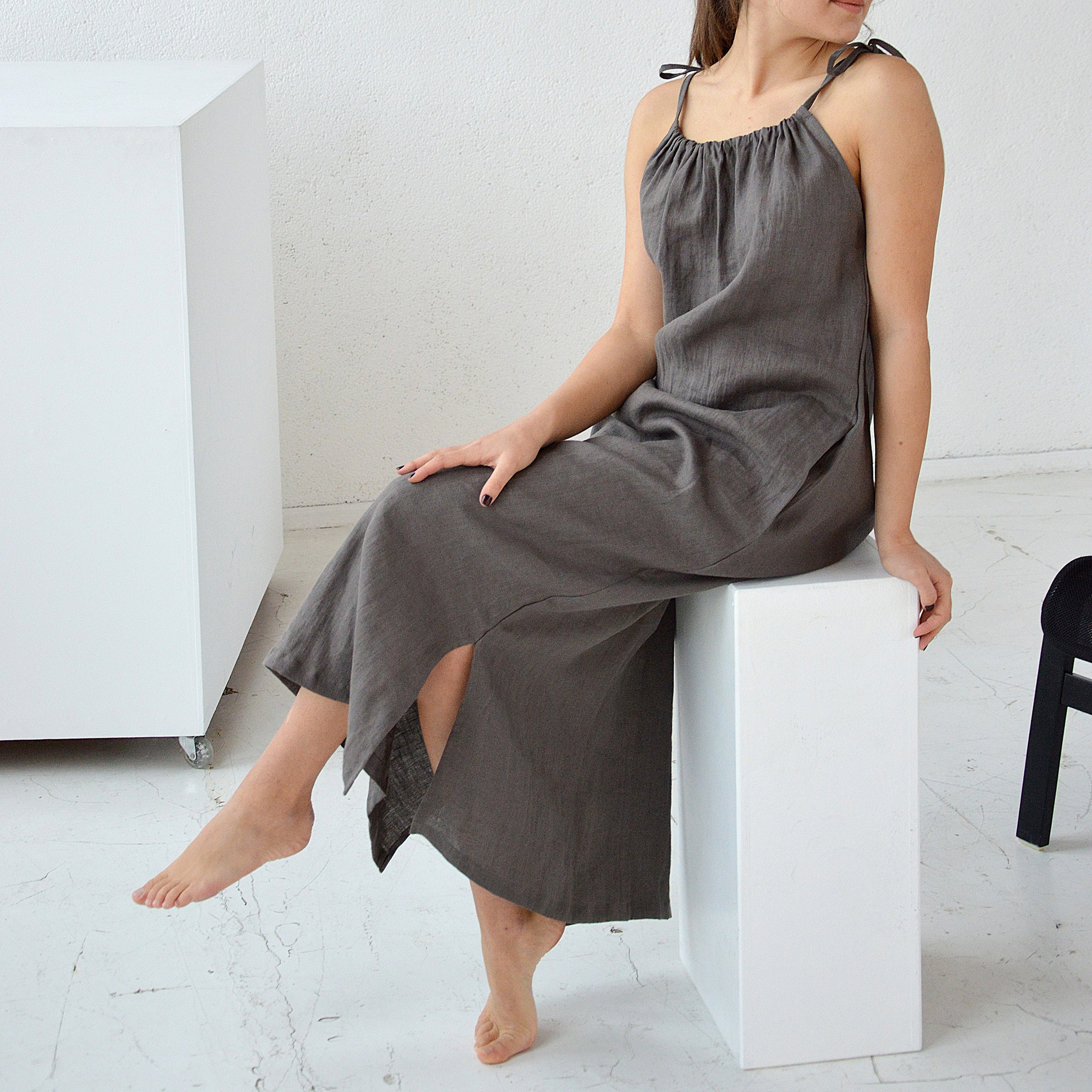 856a84602c READY TO SHIP - S size - Weathered wood long linen dress - Handmade dress -  Soft linen dress with regulating straps