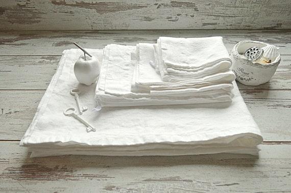 Linen Bath set / Linen SPA sheet / bath towel / face, hand towel / double-layered mat / Natural white linen full set