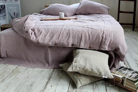 Linen duvet cover / Linen bedding / Duvet cover with buttons / Softened linen duvet cover / Wood rose duvet cover / King / Queen