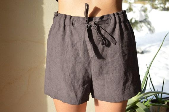 Sleeping linen shorts - Brownish eggplant shorts - Women's Soft linen shorts - Linen loungewear - Soft linen loungewear