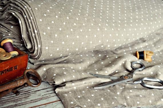 Linen fabric / Polka dot fabric / Medium weight linen / A-012 natural / Softened linen fabric / Baltic quality fabric