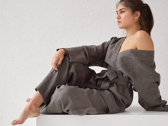Linen kimono and pants set / Weathered wood linen suit / Kimono jacket / Loose kimono and pants / Loungewear linen suit