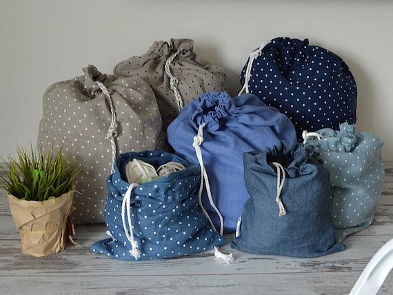 Eco storage bag - 100% linen bags - Laundry linen bag - Large storage bag - linen laundry bag drawstring