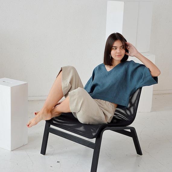 Linen top / Ocean wave linen top / V-neck blouse / Oversize linen top / Casual linen top