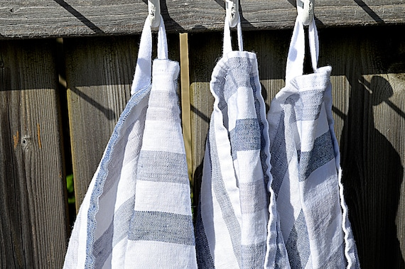 Striped linen towel / Thick hand guest tea towel / Natural washed linen towels / Pure white with blue stripes towel / Durable towels