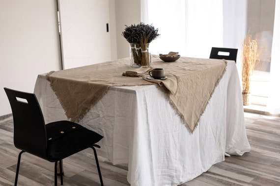 Fringed natural undyed linen tablecloth / Table linen /  Softened tablecloth fringed/ Stonewashed linen tablecloth