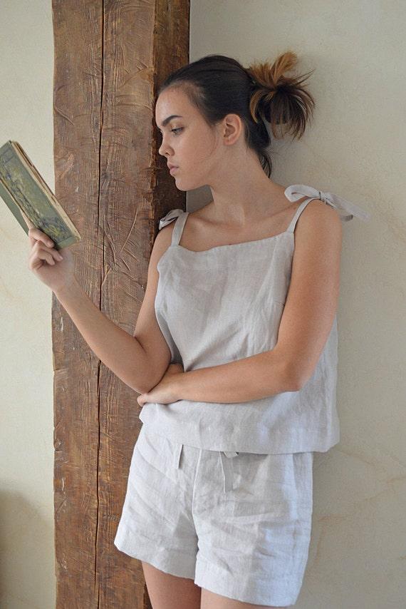 Ivory Linen pajama - Women's linen sleepwear - Soft linen loungewear - Handmade linen pajama set -  Pajama top and shorts