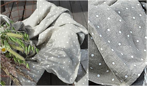 Polka dots linen towel / Very soft towel - Natural linen towel / Simple rustic hand face tea towels / Softened linen towels