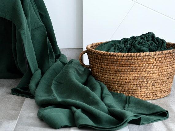 Linen flat sheet / Dark emerald  sheet / Soft linen bedding / Linen top flat sheet / Queen / King size sheet / 100% linen bed sheet