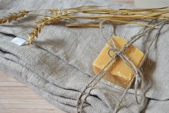 Bath thick linen towels / 2 towels / Medium bath towels / Natural undyed linen towels / Simple rustic bath towel / Washed rough linen towel