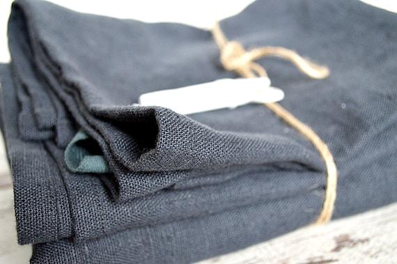 Thick Linen towels / Set of 2 / Charcoal blue linen towels / Simple hand face tea towels / Washed rough linen / 100% linen  towels