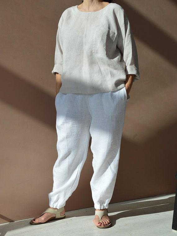 READY to ship - XXL size - Linen trousers - Linen loose pants - White linen trousers