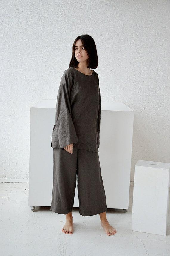 Linen pants  Culottes linen pants  Terracotta linen culottes pants  Loose pants  Midi flared linen pants  Soft linen trousers