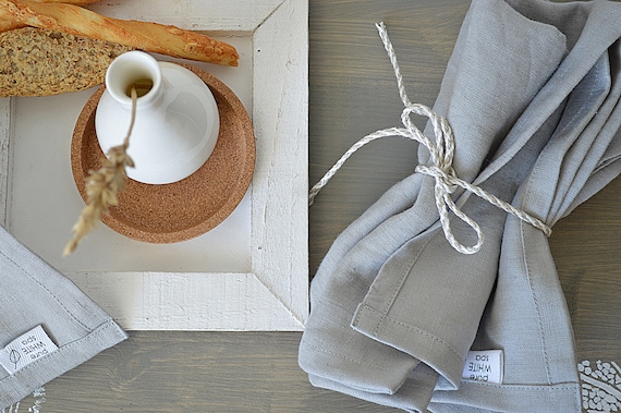 Linen napkin set / 19 colors / Dinner linen napkin / Set of 4, 6, 8, 10, 12 / Gray linen napkins / Softened handmade napkins