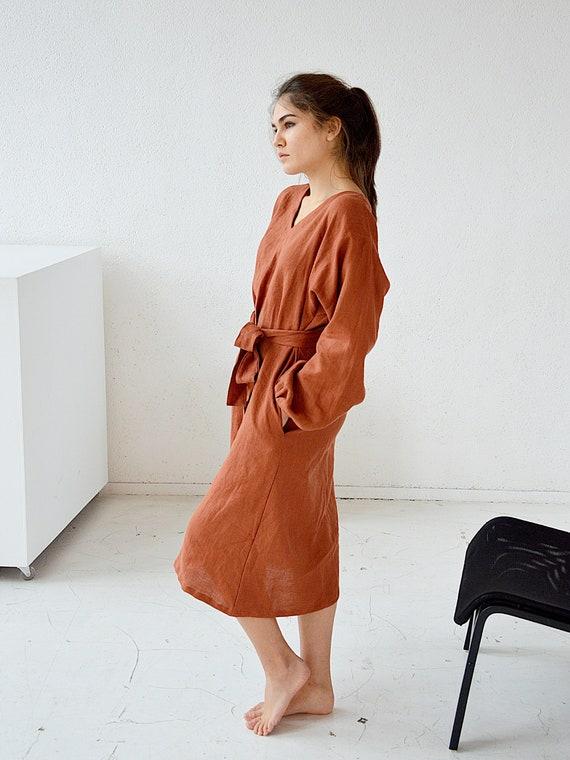 READY TO SHIP - S size - Terracotta linen midi linen dress - Long sleeved dress - V-neck dress with pockets
