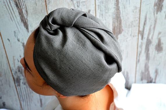 Linen hair towel / Pure linen turban / Stone grey woman bath turban / Natural linen sauna / spa / shower / bath turban / Treat yourself !