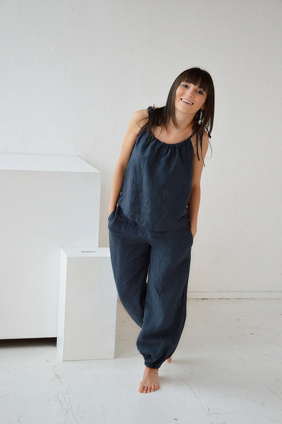 READY TO SHIP - S size - Linen top and trousers - Linen suit - Soft linen top - Summer linen trousers