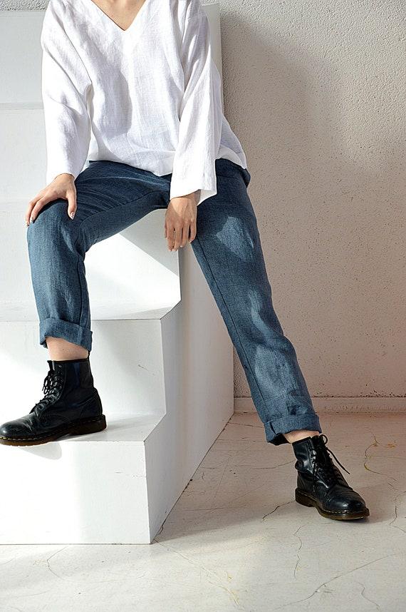 Denim linen pants / Linen pants with pockets / Long linen pants / Soft linen casual pants /  Washed women linen pants