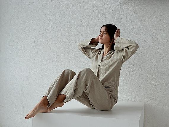 Handmade linen pajama - Women's Pajama Shirt and Pants - High-quality softened Linen loungewear - Soft linen pajama set