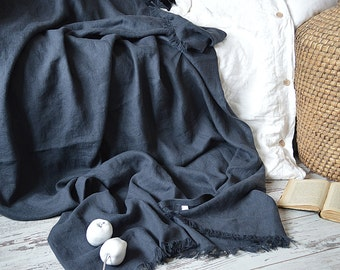 Linen throw blanket / Heavy weight linen blanket / Softened thick linen coverlet / Summer blanket
