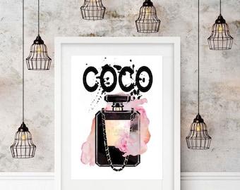 Watercolour Coco Chanel Perfume Bottle, Wall Art, Print, A3 Print, Unframed