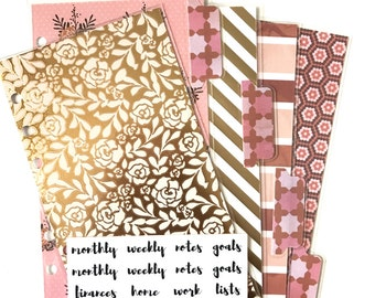 Personal Size Planner Dividers Set with Tab Labels || Vintage Floral