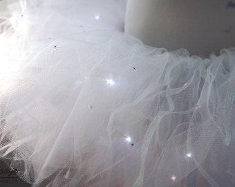 Star Sparkling Glitter w/ LED White layered Tutu Skirt Costume Dance Rave Trance EDC Wonderland Ultra LIB Firefly Nye Festival Outfit Wear