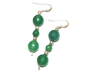 Elegant Emerald Beaded Dangle Silver Earrings M9-ERQV-PH6T