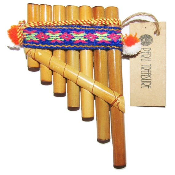 NATURAL BAMBOO  FROM PERU CASE INCLUDED ITEM IN USA PAN FLUTE-10 PIPES