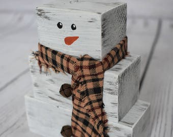 Wood Stack Snowman - Holiday Decor - Home Decor - Christmas Decor - Wood Snowman Decor - Made to Order
