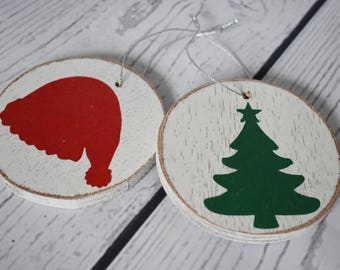 Wood Disc Christmas Ornament - Wood Disc Ornament - Christmas Tree Ornament - Santa Hat Ornament - Christmas Ornament - Ready to Ship