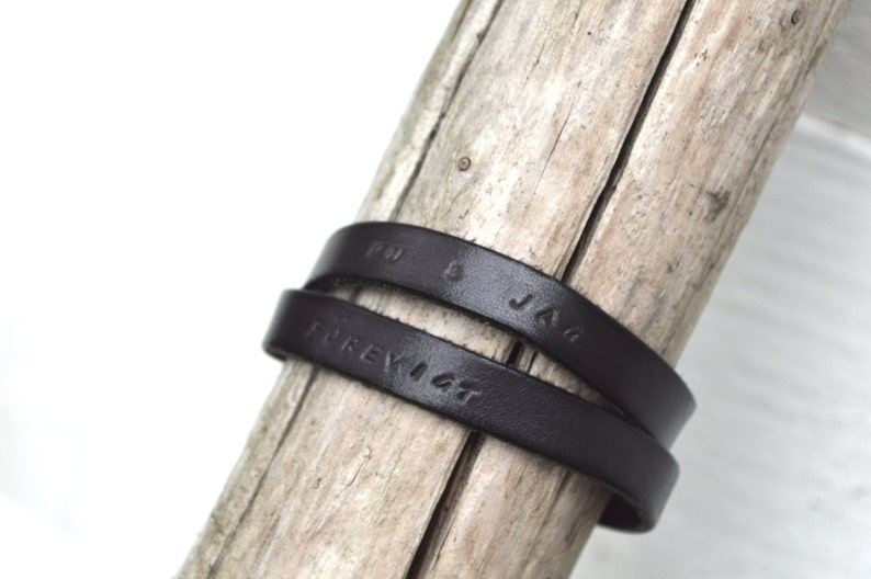 Personalized Gift Leather Wrap Bracelet Gift for boyfriend. Black Leather Magnetic Silver Clasp Mothers day gift Gift for dad