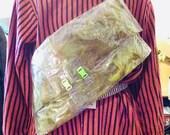 Transparent Green Human Hair Crossbody Bag Purse