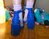 Deep Blue Fringe Block Heel Shoes