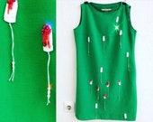 Mini Tampon Green Dress Vintage Handmade Feminist Dress