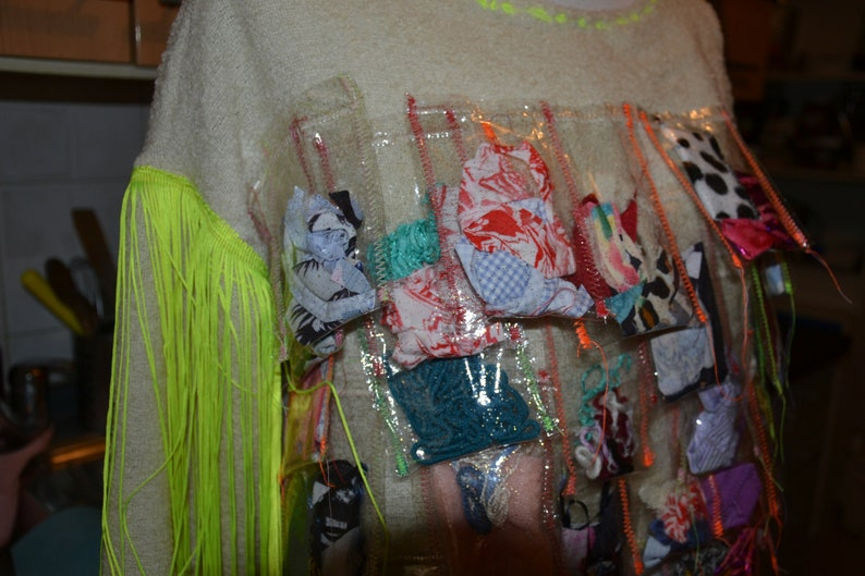 Scrap Fabric / Yarn Plastic Bags Sweater image 0