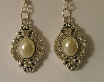 Diamond and Pearl Earrings with Silver Fishhook